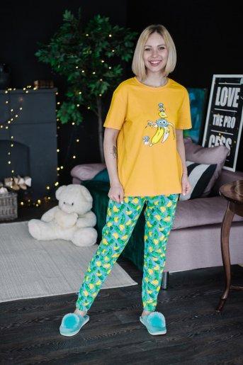 """Женская пижама ЖП 024 """"Ж"""" (Принт смешарики в банане) - Дамит"""