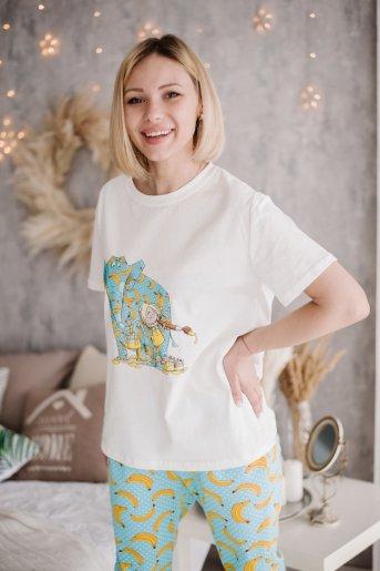 """Женская пижама ЖП 039 """"Ж"""" (Принт девочка со слоном) (Фото 2)"""