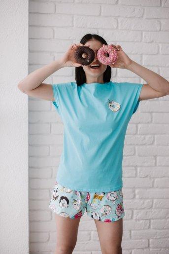 """Женская пижама ЖП 022 """"Ж"""" (Голубой_принт пончики) - Дамит"""