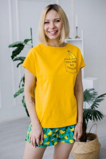 """Женская пижама ЖП 022 """"Ж"""" (Принт бананы в кармане) - Дамит"""