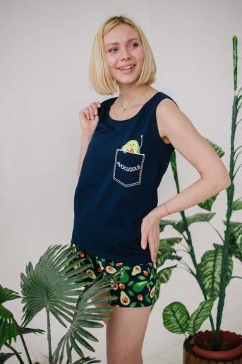 """Женская пижама ЖП 059 """"Ж"""" (Принт авокадо на т.-синем) - Дамит"""