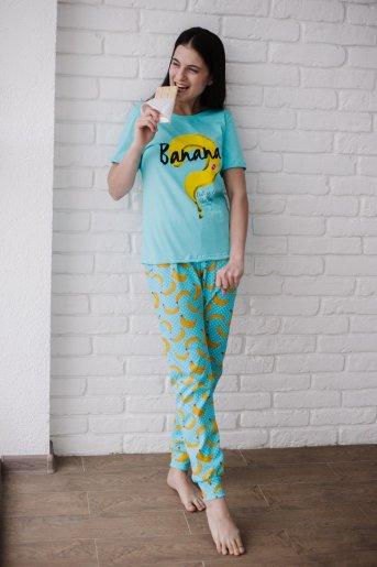 "Женская пижама ЖП 058 ""Ж"" (Голубой_бананы с горохом) - Дамит"