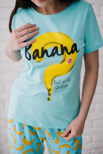 "Женская пижама ЖП 058 ""Ж"" (Голубой_бананы с горохом) (Фото 2)"