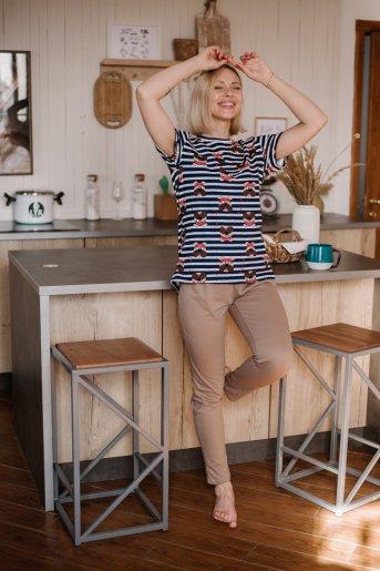 """Женская пижама ЖП 024/7 """"Ж"""" (Кпринт пес на полосе_какао) - Дамит"""