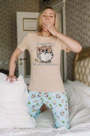 """Женская пижама ЖП 067 """"Ж"""" (Бежевый _ совята на голубом) - Дамит"""