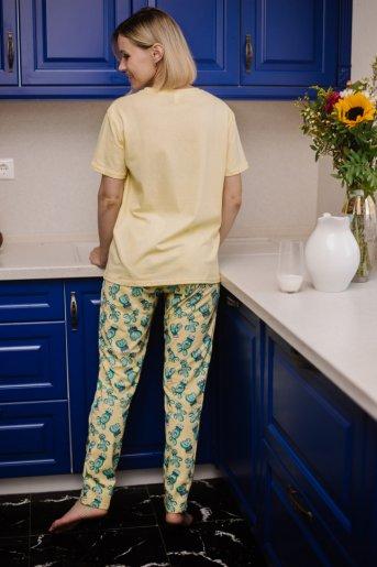 """Женская пижама ЖП 024 """"Ж"""" (Светло-желтый _ кактусы) (Фото 2)"""