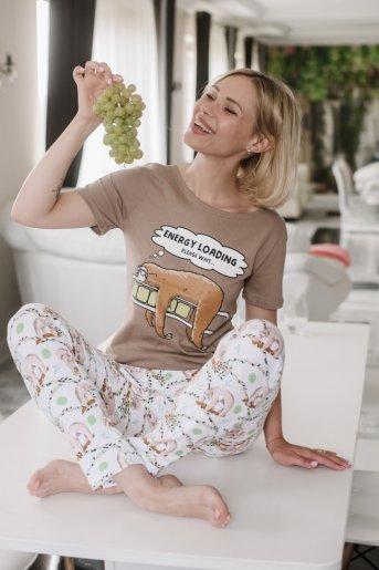 """Женская пижама ЖП 067 """"Ж"""" (Какао _ принт ленивцы) - Дамит"""