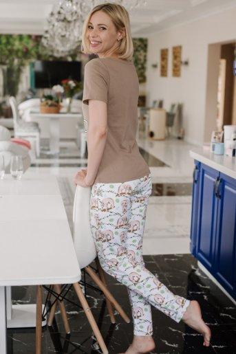 """Женская пижама ЖП 067 """"Ж"""" (Какао _ принт ленивцы) (Фото 2)"""