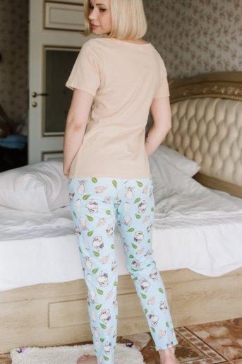 "Женская пижама ЖП 067 ""Ж"" (Бежевый _ совята на голубом) (Фото 2)"