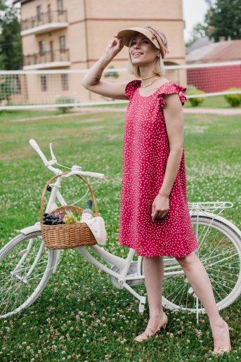 """Платье П 703/1 """"Ж"""" (Мелкий горошек на красном) - Дамит"""