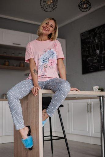 """Женская пижама ЖП 024 """"Ж"""" (Розовый_горох на сером) - Дамит"""