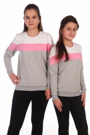 Свитшот Хайт-2 (Серый, розовый, белый) - Дамит