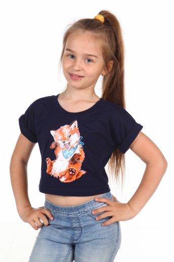 Короткая футболка Лисёнок (Темно-синий) - Дамит