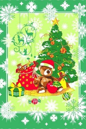 Полотенце новогоднее Мишка (Зелёный) - Дамит