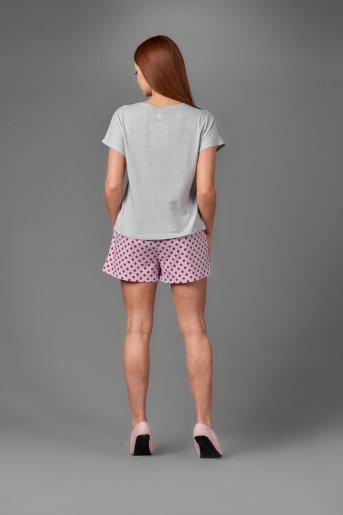 "Женская пижама ЖП 022 ""Ж"" (Серый_розовый горох) (Фото 2)"