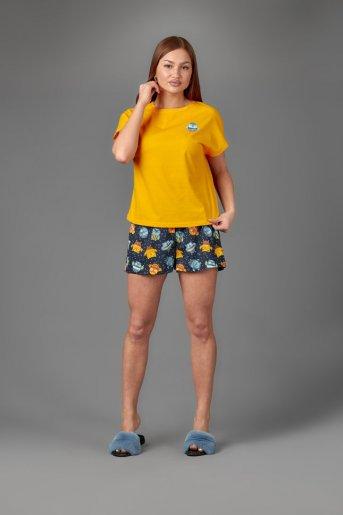 "Женская пижама ЖП 022 ""Ж"" (Желтый_принт совята) - Дамит"