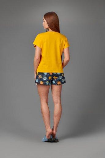 "Женская пижама ЖП 022 ""Ж"" (Желтый_принт совята) (Фото 2)"